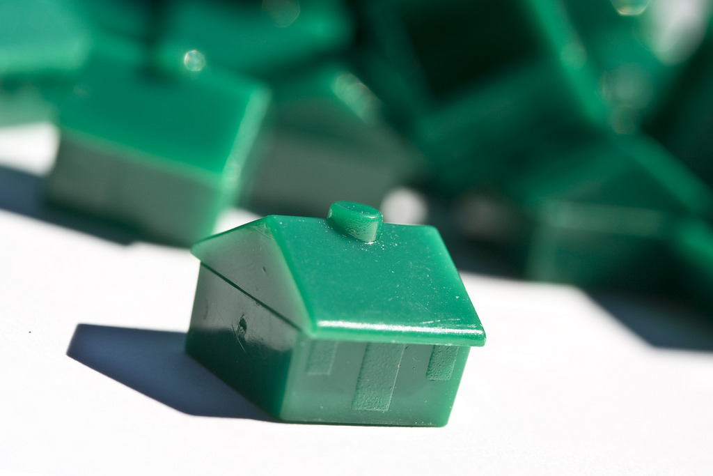 Green Monopoly home pieces