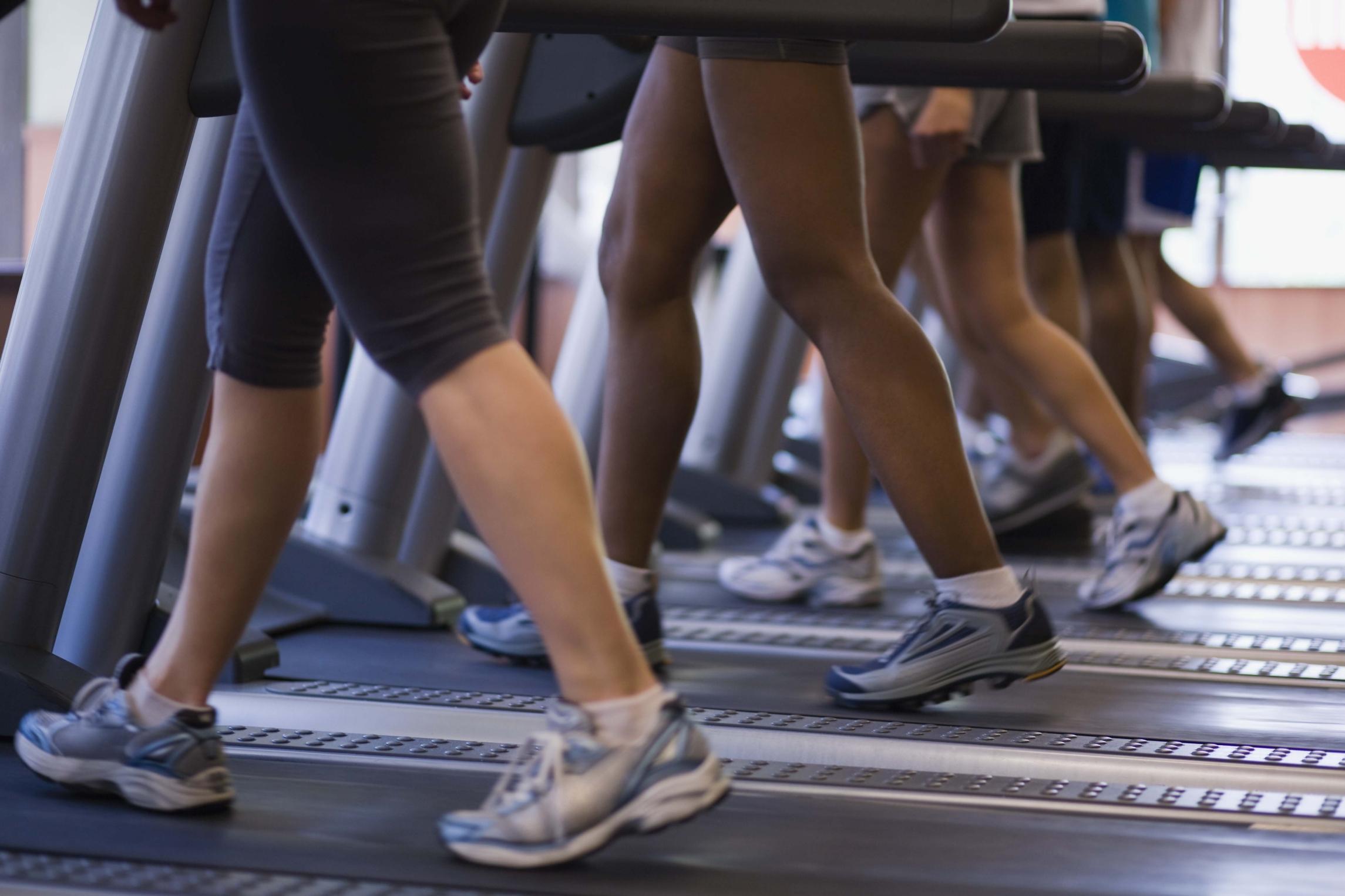 Peoples legs walking on treadmills