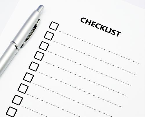 Checklist with a pen