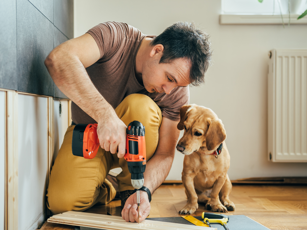 man-drilling-next-to-a-dog