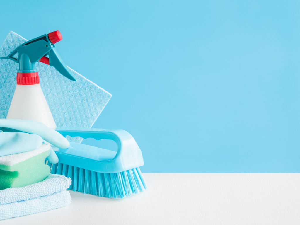 bottle of household cleaner and brushes for cleaning