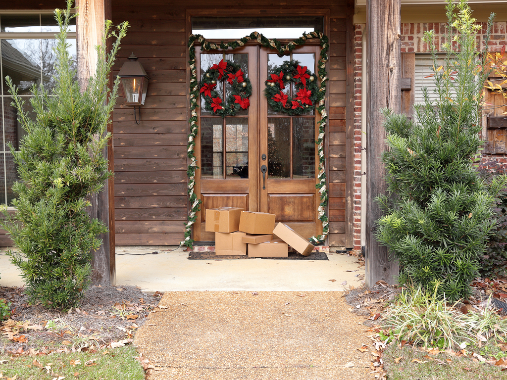 packages on holiday doorstep