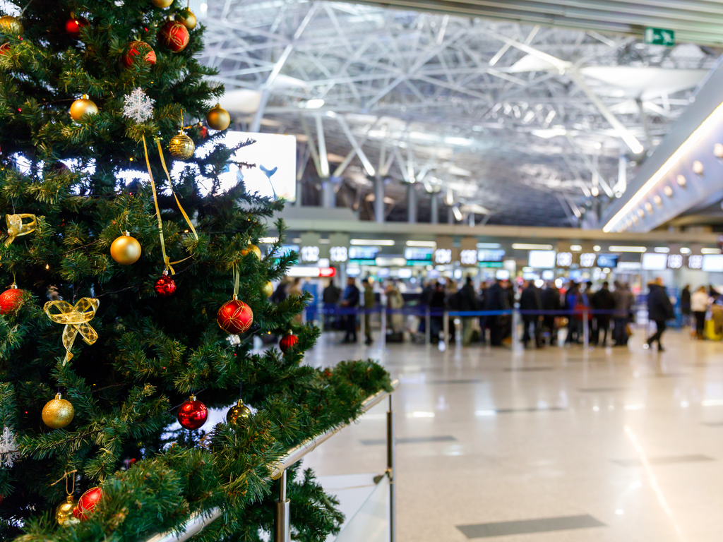 Christmas tree in an airport